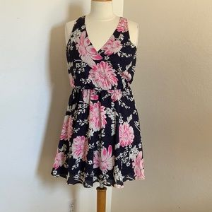 Pink and Navy Flora Lush Dress Size Small